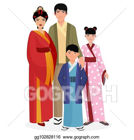 Vector family man and. Japanese clipart clothes japanese