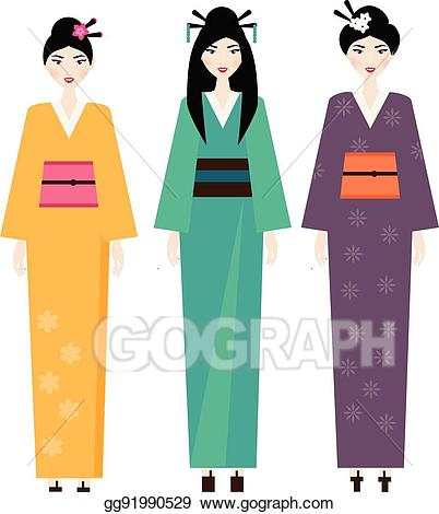 Japanese clipart clothes japanese. Vector illustration woman in