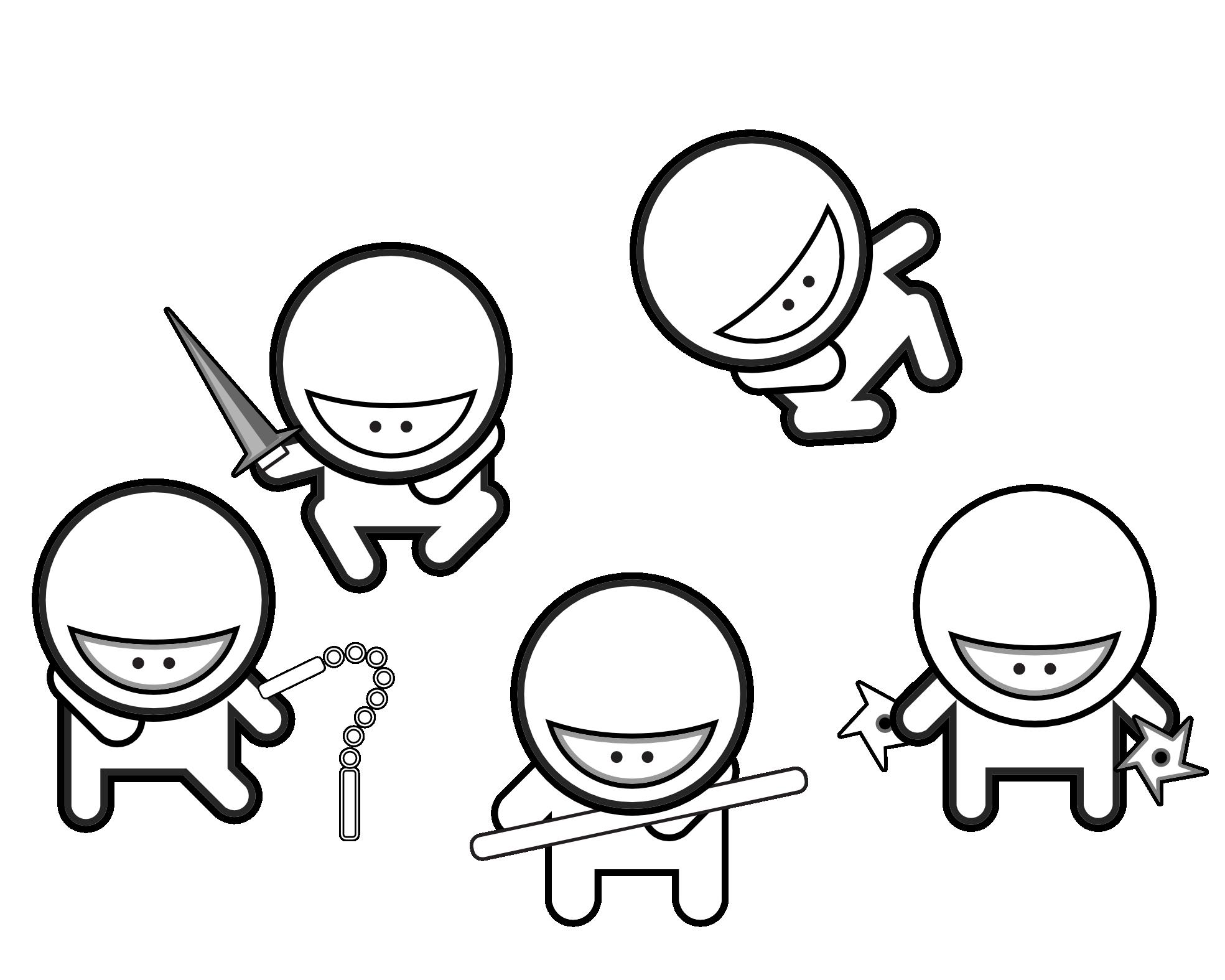 Free black and white. Ninja clipart cartoon chinese