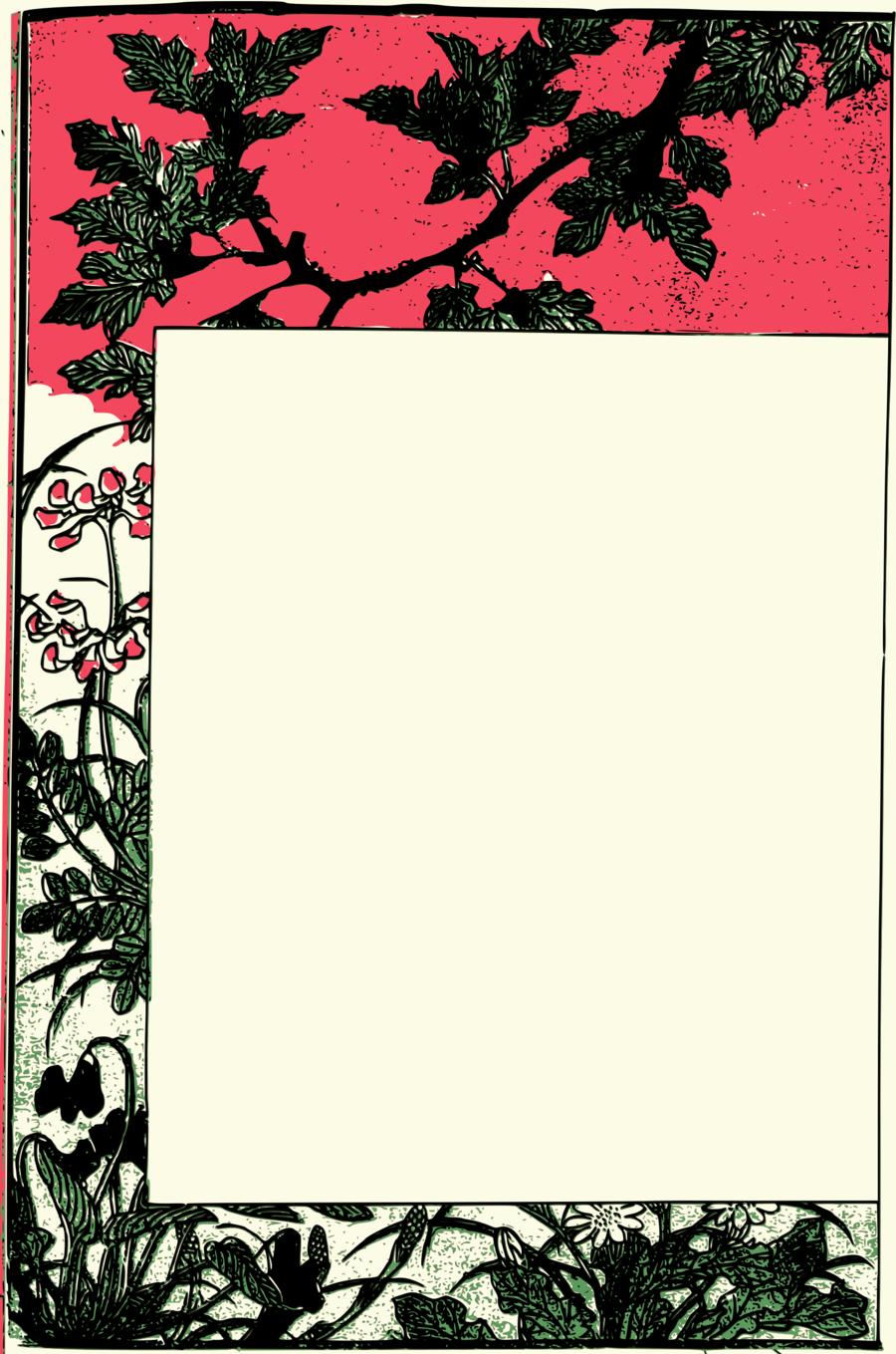 Japanese clipart frame japanese. Border design flower japan
