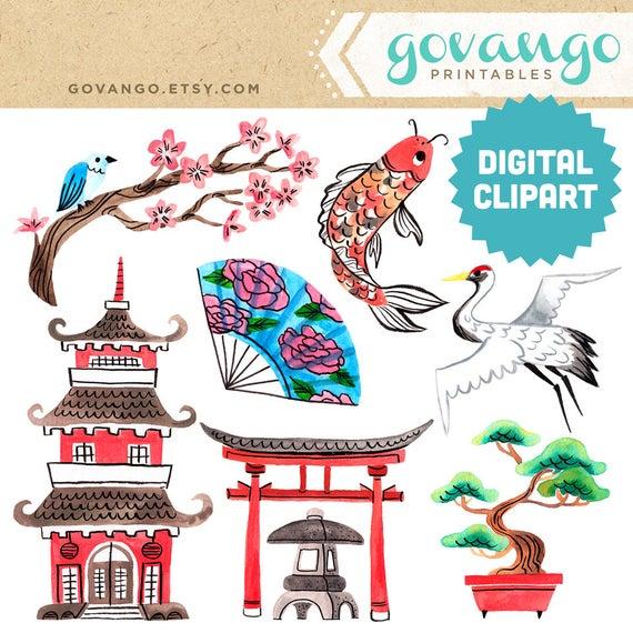 Zen digital instant download. Japanese clipart garden
