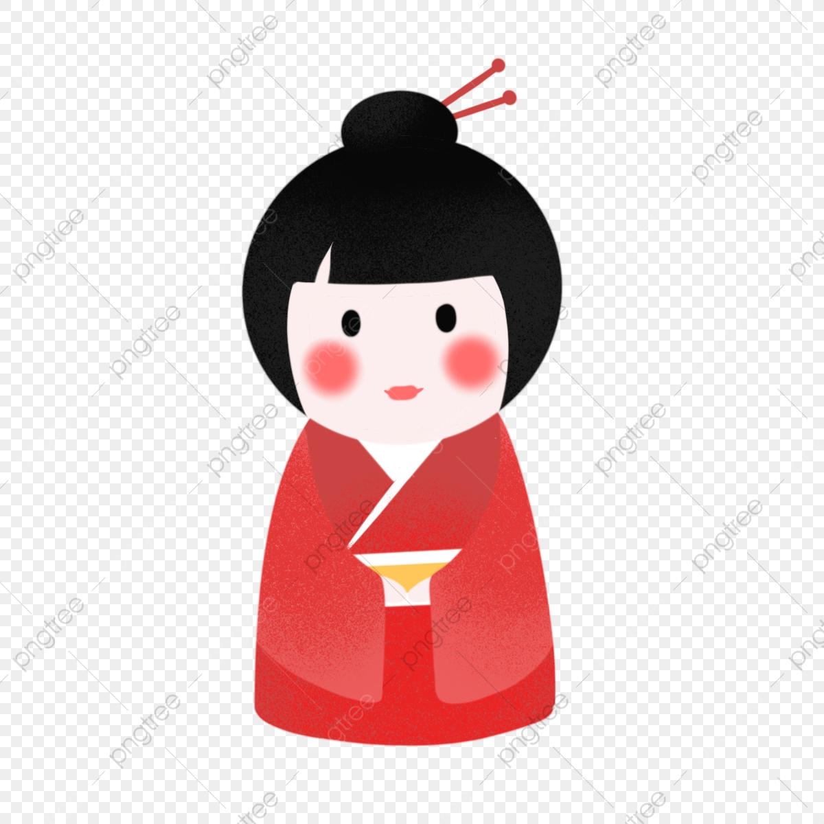 Hand drawn cute doll. Japanese clipart japanese traditional
