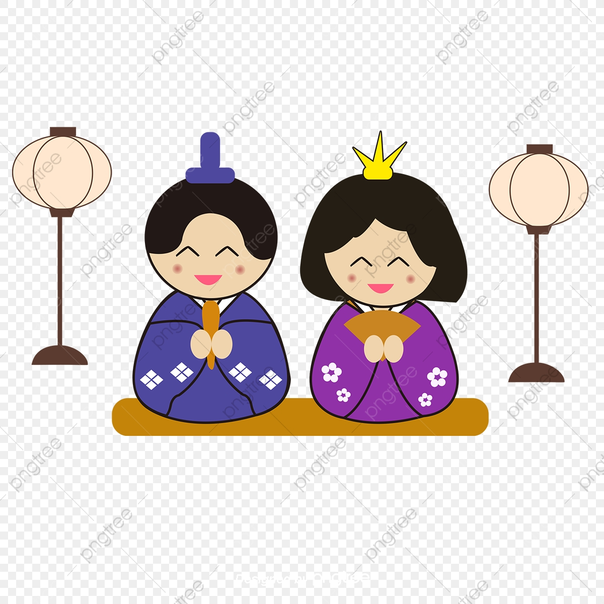 Male and female costumes. Japanese clipart japanese traditional