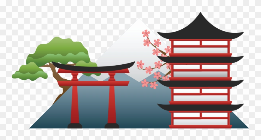 Of a shinto gate. Japanese clipart scenery