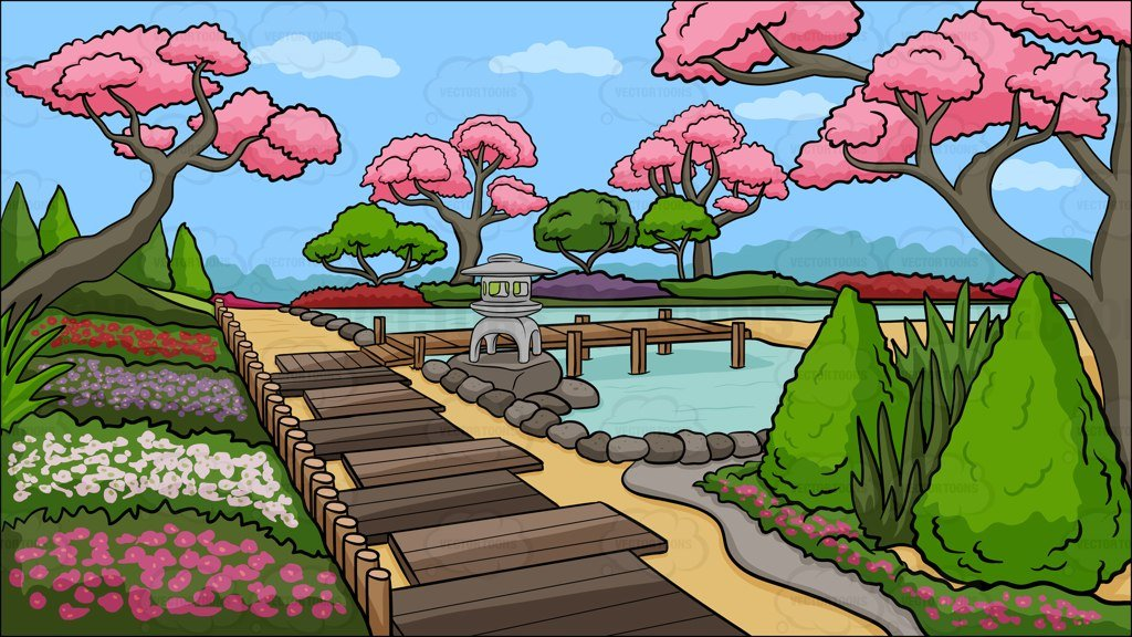 Japanese clipart scenery. A garden background