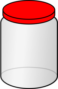 With red lid clip. Jar clipart