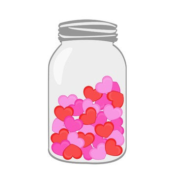 Valentines hearts in . Valentine clipart mason jar