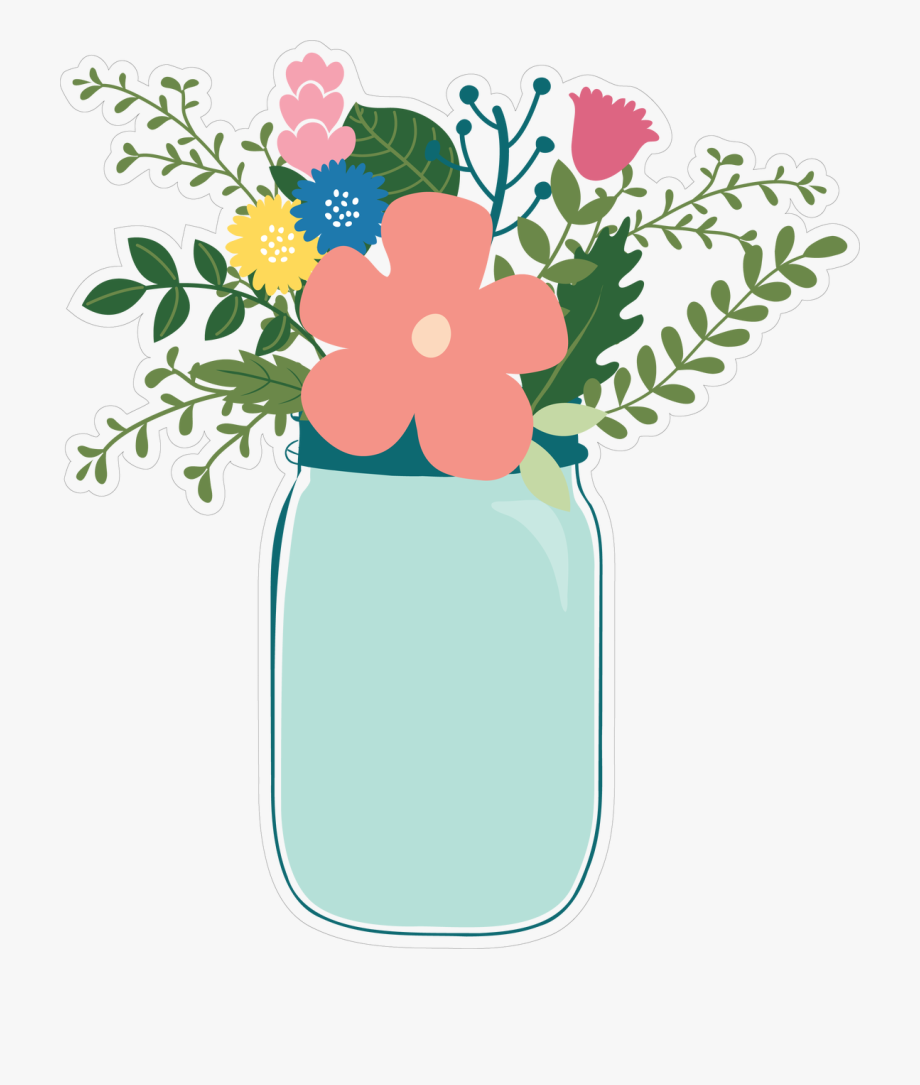 Flower cut file transparent. Jar clipart print