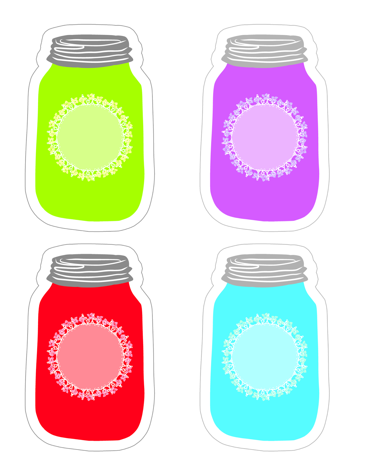 Colorful mason tag collection. Perfume clipart canning jar