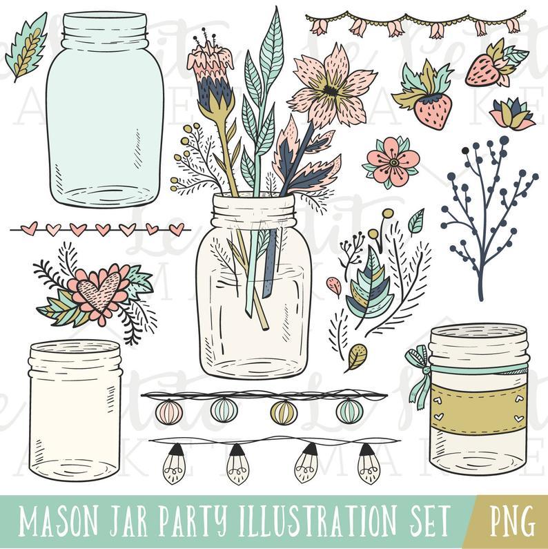 Mason clip art illustrations. Jar clipart wedding