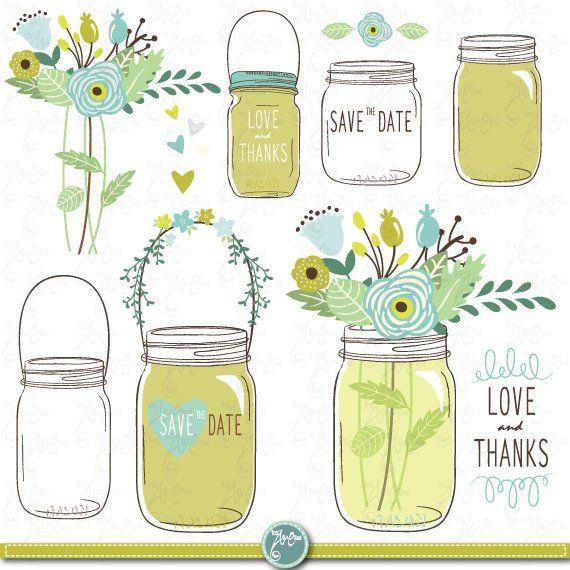Hand draw mason jars. Jar clipart wedding