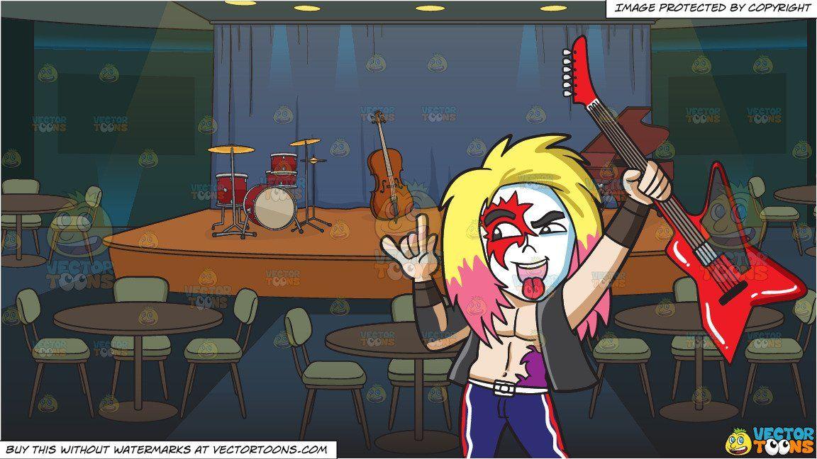 Jazz clipart jazz club. Cartoon a glam rock