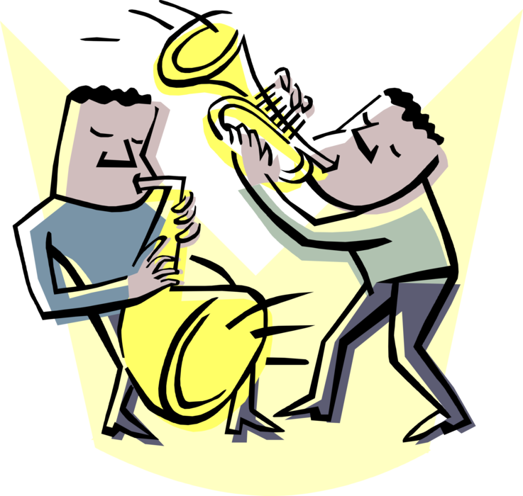 Musicians play trumpet and. Musician clipart jazz combo