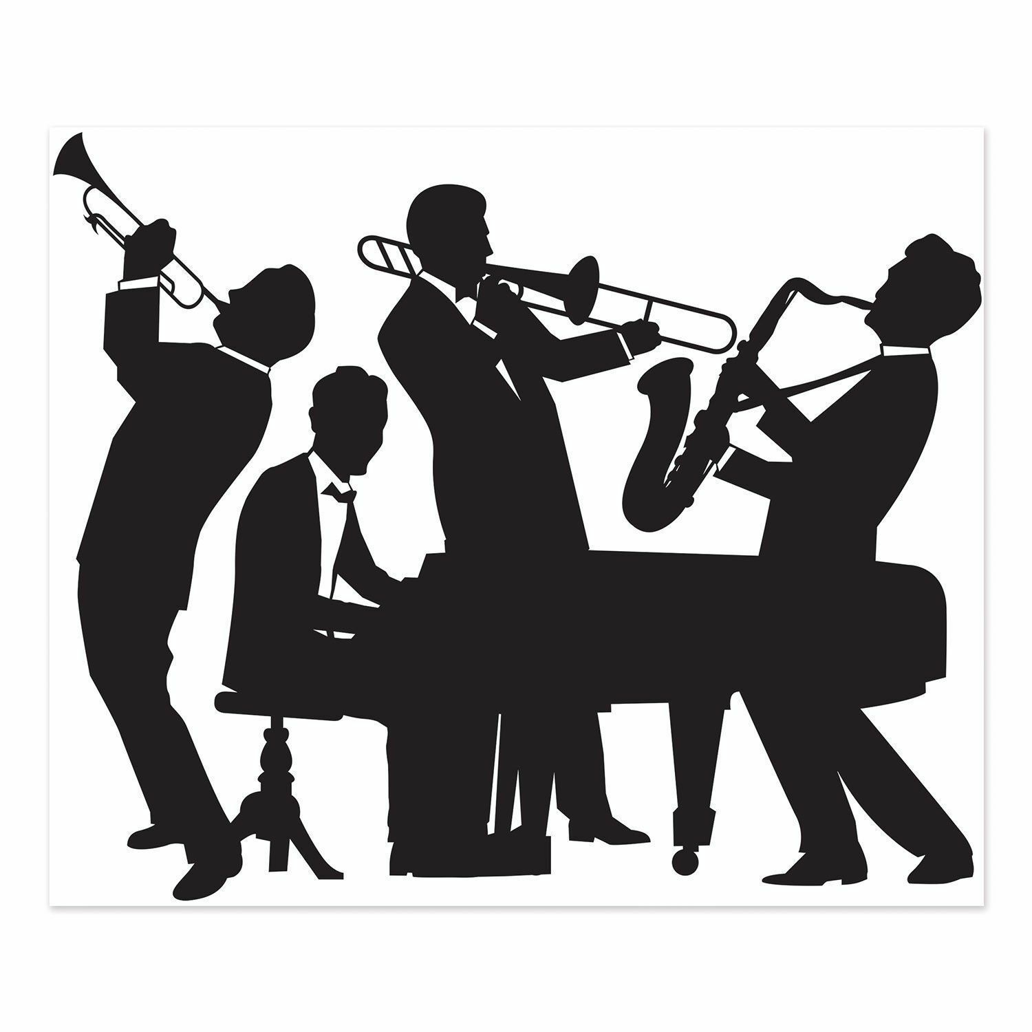 Great gatsby band silhouette. Jazz clipart jazz combo
