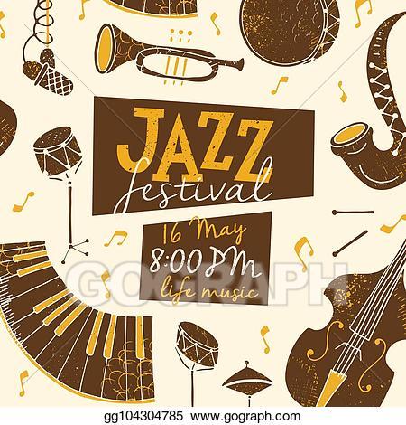 Vector poster illustration . Jazz clipart jazz festival