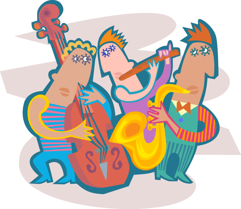 Band musicians perform live. Musician clipart jazz combo