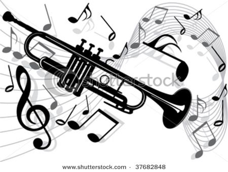 Musician clipart jazz trumpet. Music notes drawings