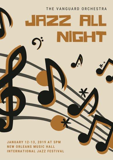 Jazz clipart musical night. Black and cream music