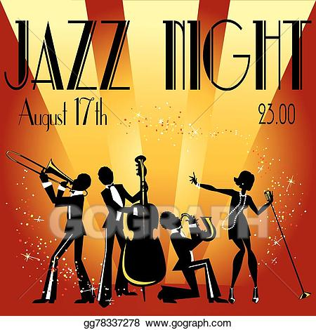 Eps vector party invitation. Jazz clipart musical show