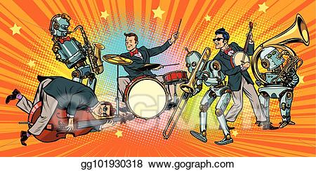 Jazz clipart pop band. Vector art rock n