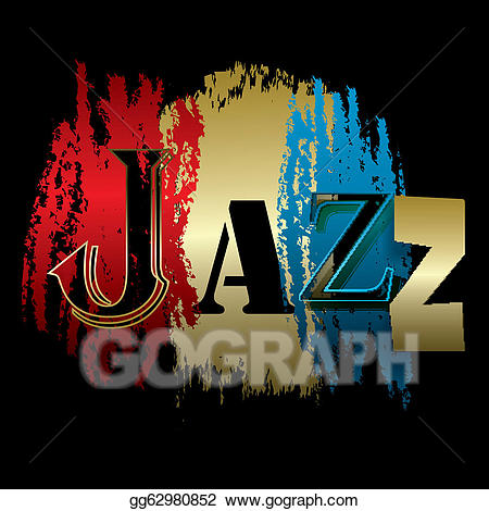Jazz clipart word. Vector art isolated on