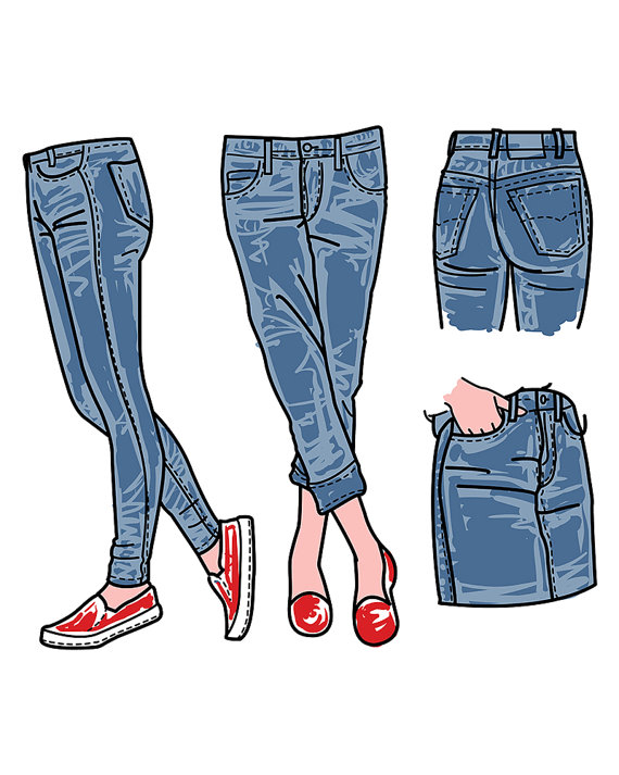 Jeans clipart. Hand drawn fashion collection