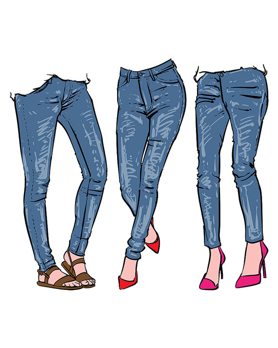 Hand drawn women s. Jeans clipart