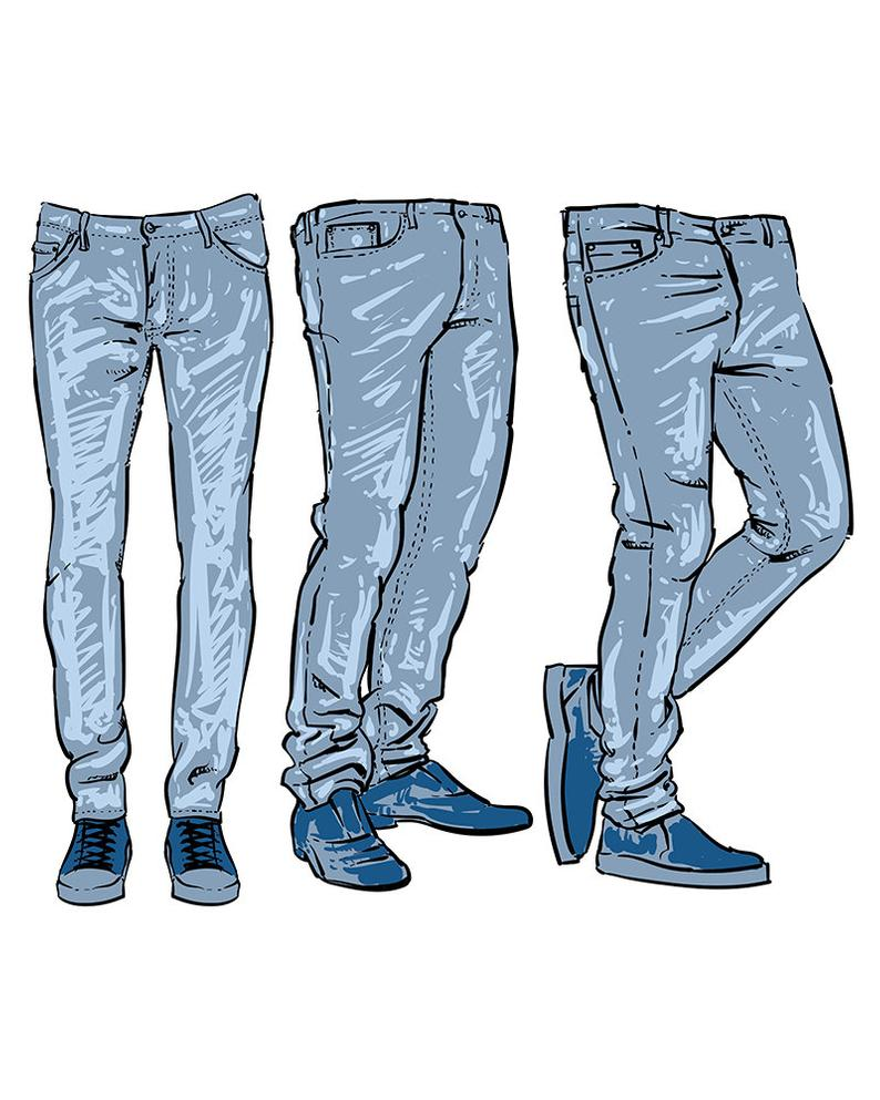 Hand drawn fashion design. Jeans clipart mens jeans