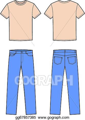 Vector art and eps. Jeans clipart t shirt