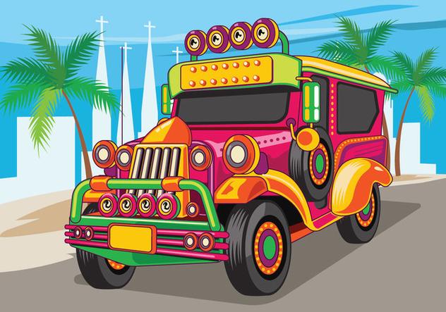 Jeepney cute vector free. Jeep clipart pilipino