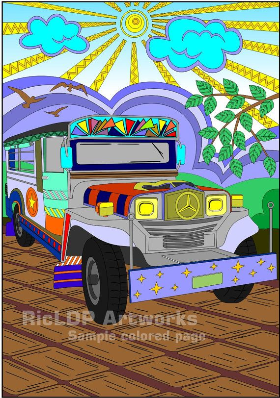 Jeep clipart pilipino. Philippine jeepney coloring page