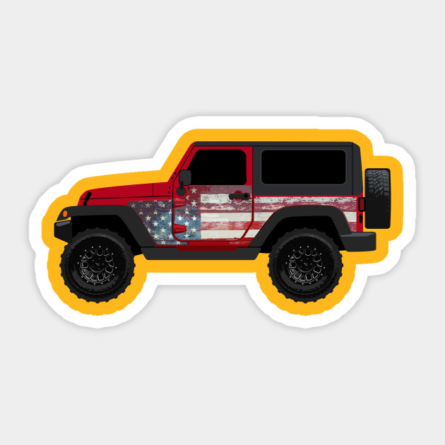 us flag sideview. Jeep clipart side view