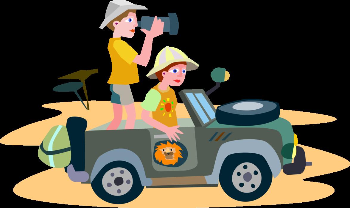 Jeep clipart vector. Tourists on safari film