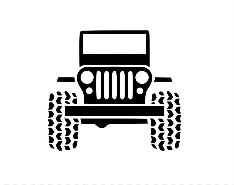 Jeep clipart vinyl decal. Black vehicle art wrangler
