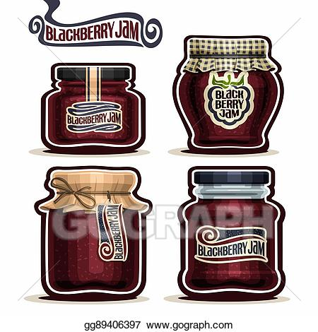 Jelly clipart blackberry jam. Eps illustration in glass