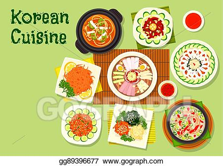 Eps illustration korean cuisine. Jelly clipart cold food