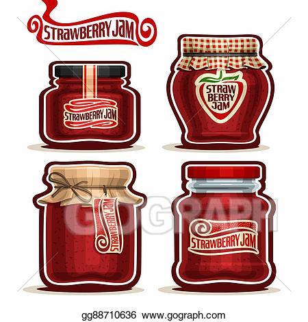 Vector illustration strawberry in. Jelly clipart homemade jam
