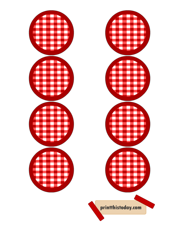 Jelly clipart jar lid. Red and white labels