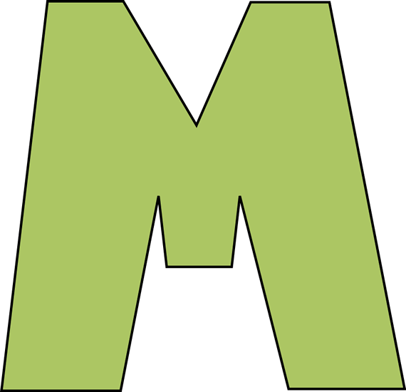 Green letter m clip. Jelly clipart large