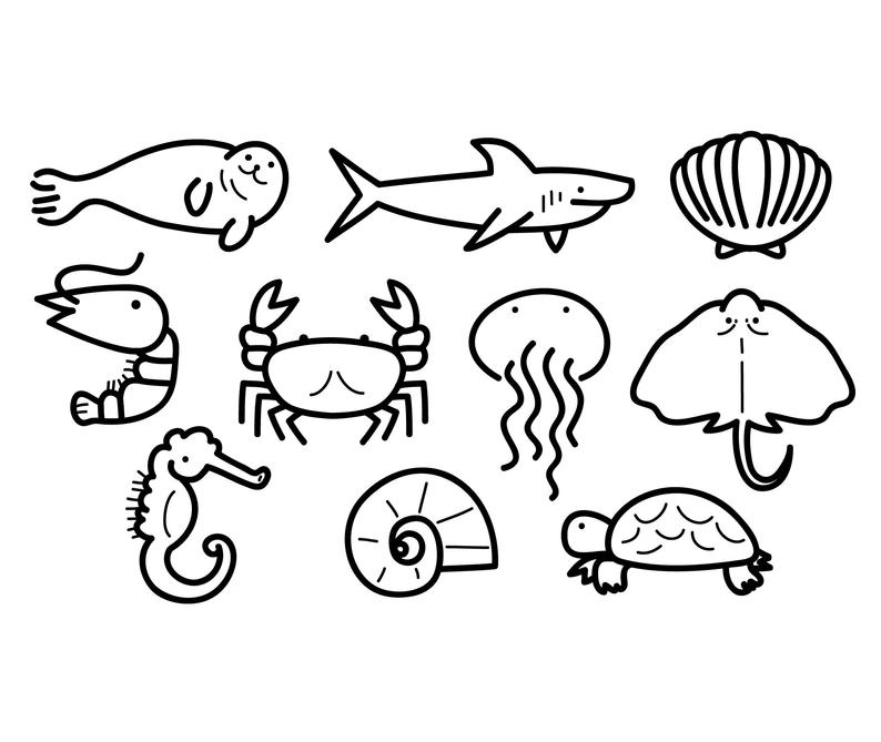 Jellyfish clipart animal shell. Sea cute vector shark
