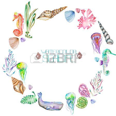 Jellyfish clipart border. Ocean a wreath circle
