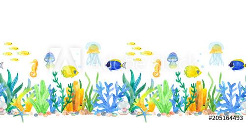Marine underwater watercolor a. Jellyfish clipart border