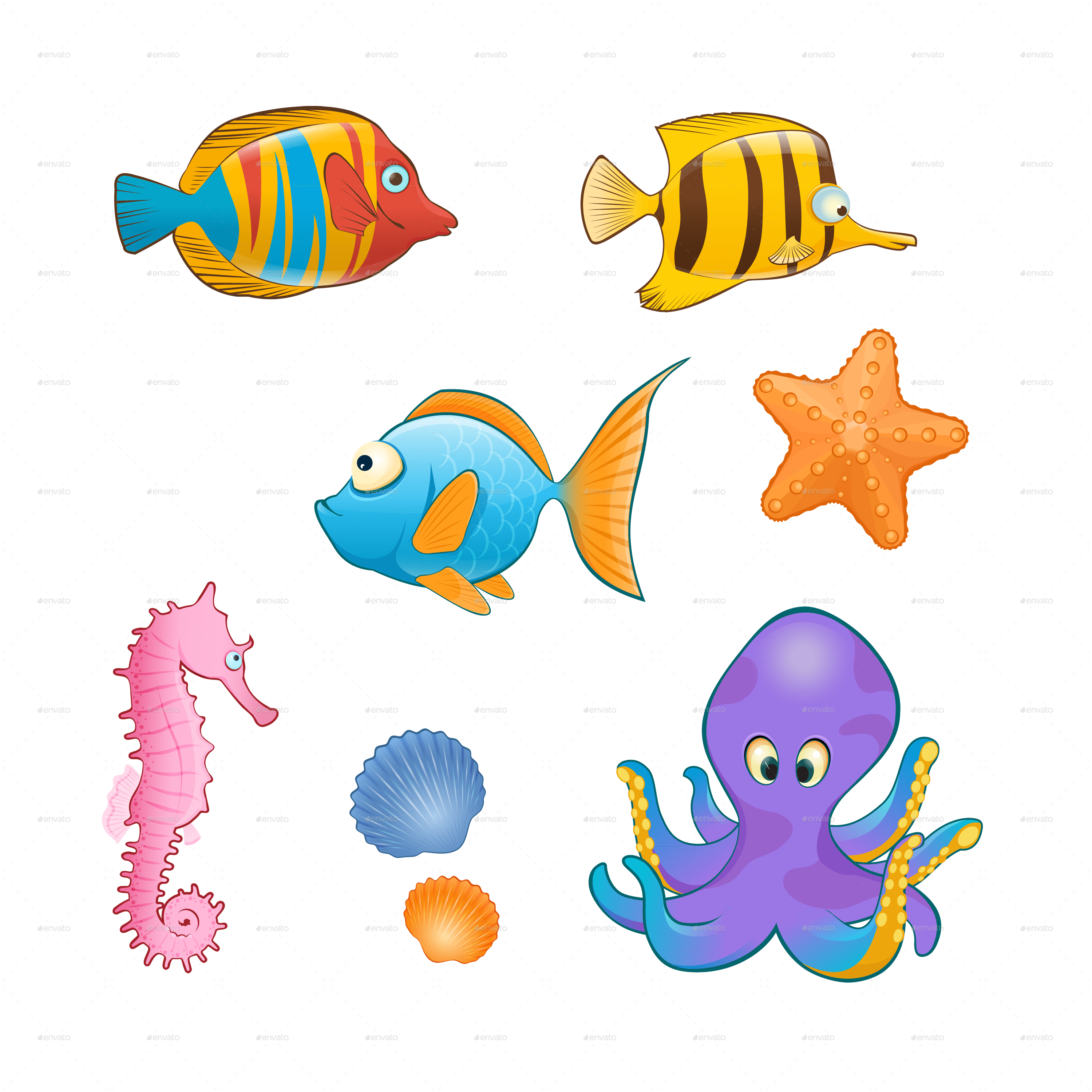 Cartoon animals png transparent. Shell clipart sea animal