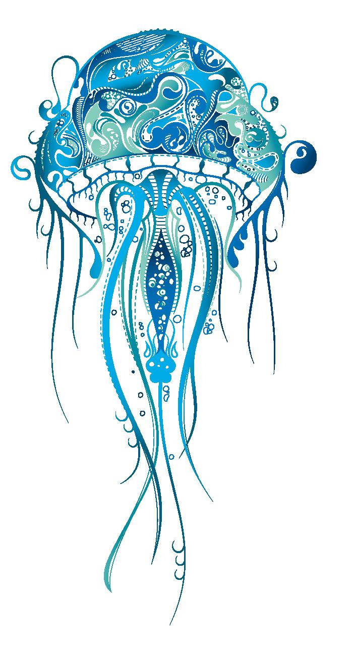 Jellyfish clipart vector. Sleeve tattoo henna drawing
