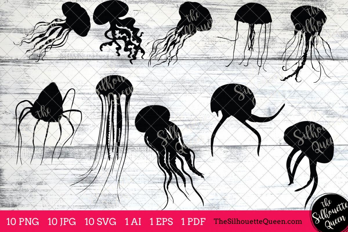 Silhouette clip art ai. Jellyfish clipart vector