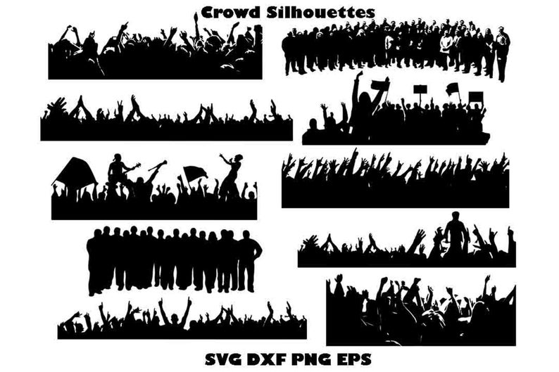 Silhouette svg vector cheering. Jersey clipart crowd