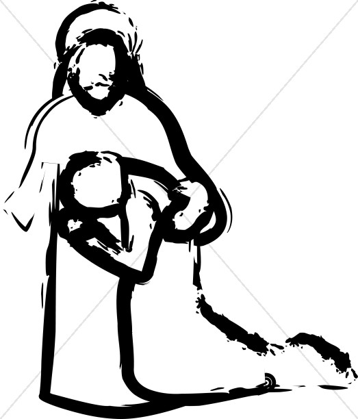 Embrace during prayer cliparting. Jesus clipart comfort