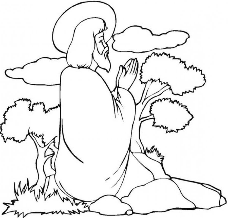 Miracles of home praying. Jesus clipart lineart