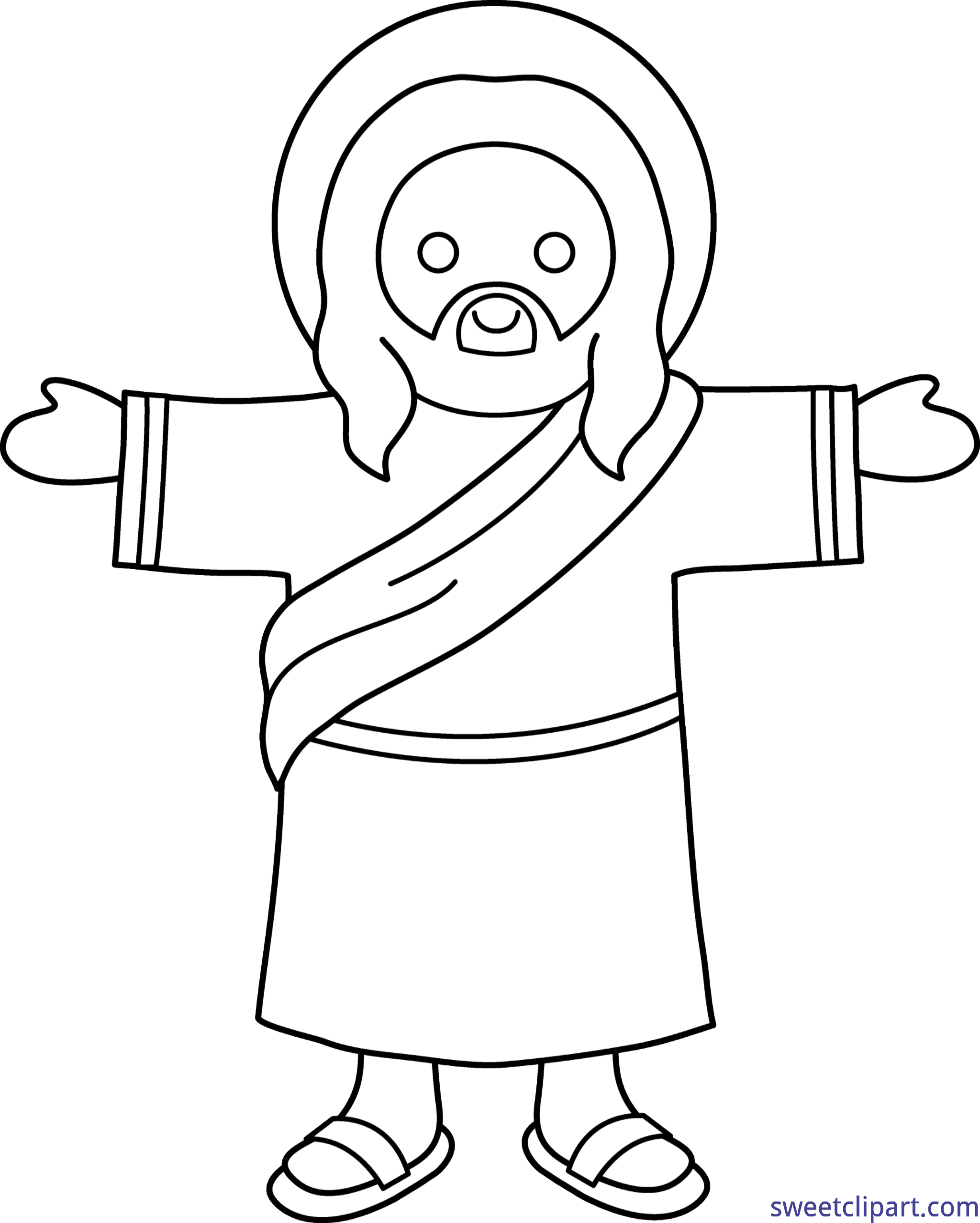 Cute coloring page clip. Jesus clipart lineart