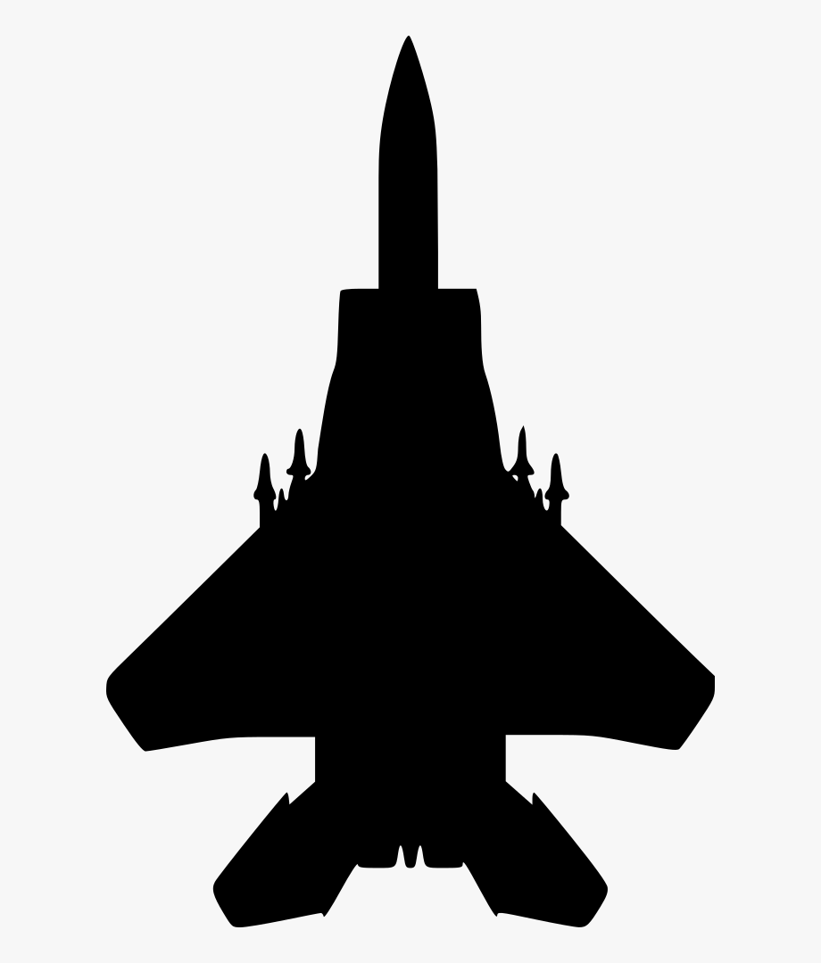 Military aircraft fighter silhouette. Jet clipart aviation